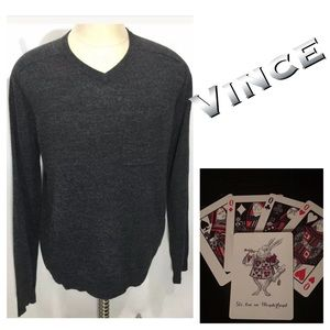 Vince V neck Sweater Linen Blend Charcoal Gray L